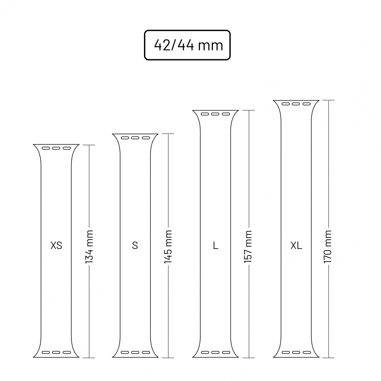 Elastický silikonový řemínek FIXED Silicone Strap pro Apple Watch 42/44mm, velikost S, černý