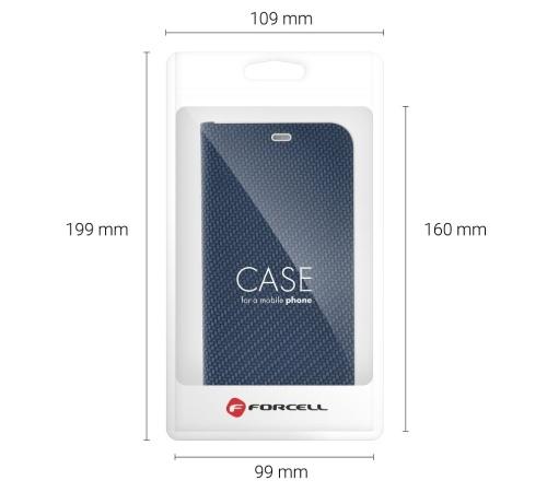 Flipové pouzdro Forcell Luna Carbon pro Xiaomi Redmi Note 10, Note 10S, modrá