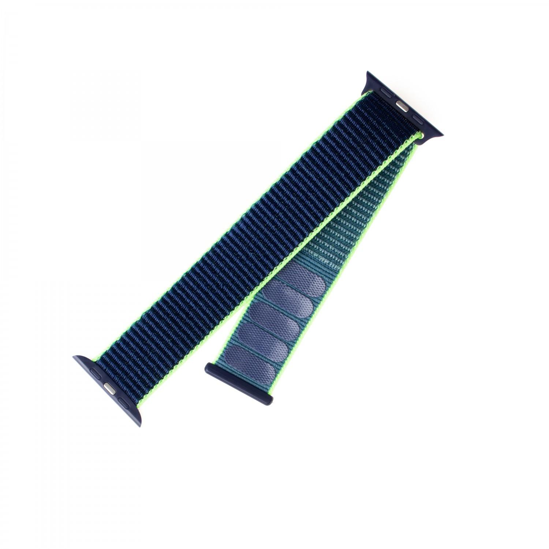 Nylonový řemínek FIXED Nylon Strap pro Apple Watch 44mm/ Watch 42mm, neonově modrý