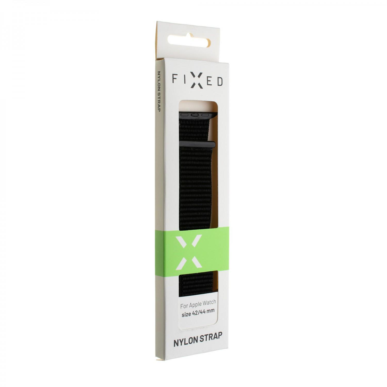Nylonový řemínek FIXED Nylon Strap pro Apple Watch 44mm/ Watch 42mm, temně šedý
