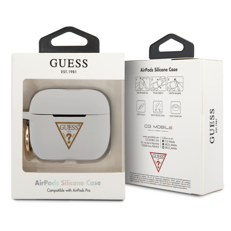 Silikonové pouzdro Guess Triangle GUACAPLSTLWH pro Airpods Pro, bílá