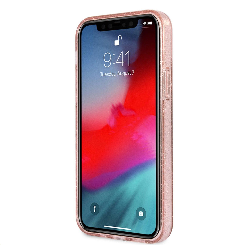 Zadní kryt Guess TPU Big 4G Full Glitter GUHCP12LPCUGL4GPI pro Apple iPhone 12 Pro Max, růžová