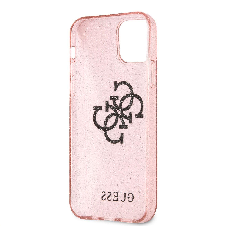 Zadní kryt Guess TPU Big 4G Full Glitter GUHCP12MPCUGL4GPI pro Apple iPhone 12/12 Pro, růžová