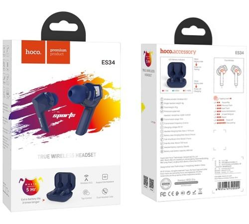 HF, sluchátka Bluetooth HOCO ES34 Pleasure, TWS, stereo, nabíjecí pouzdro, modrá