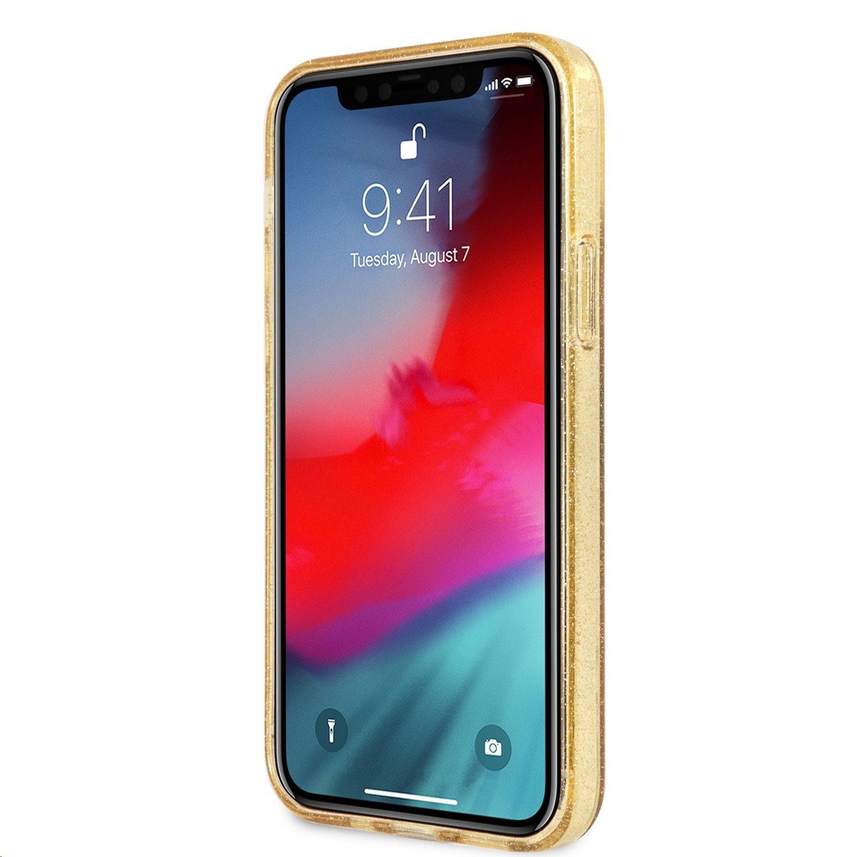Zadní kryt Guess TPU Big 4G Full Glitter GUHCP12LPCUGL4GGO pro Apple iPhone 12 Pro Max, zlatá