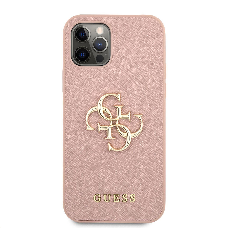 Zadní kryt Guess PU Saffiano Big 4G Metal Logo GUHCP12MSA4GGPI pro Apple iPhone 12/12 Pro, růžová