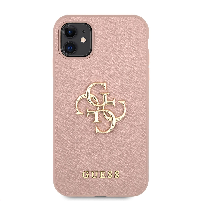 Zadní kryt Guess PU Saffiano Big 4G Metal Logo GUHCN61SA4GGPI pro Apple iPhone 11, růžová