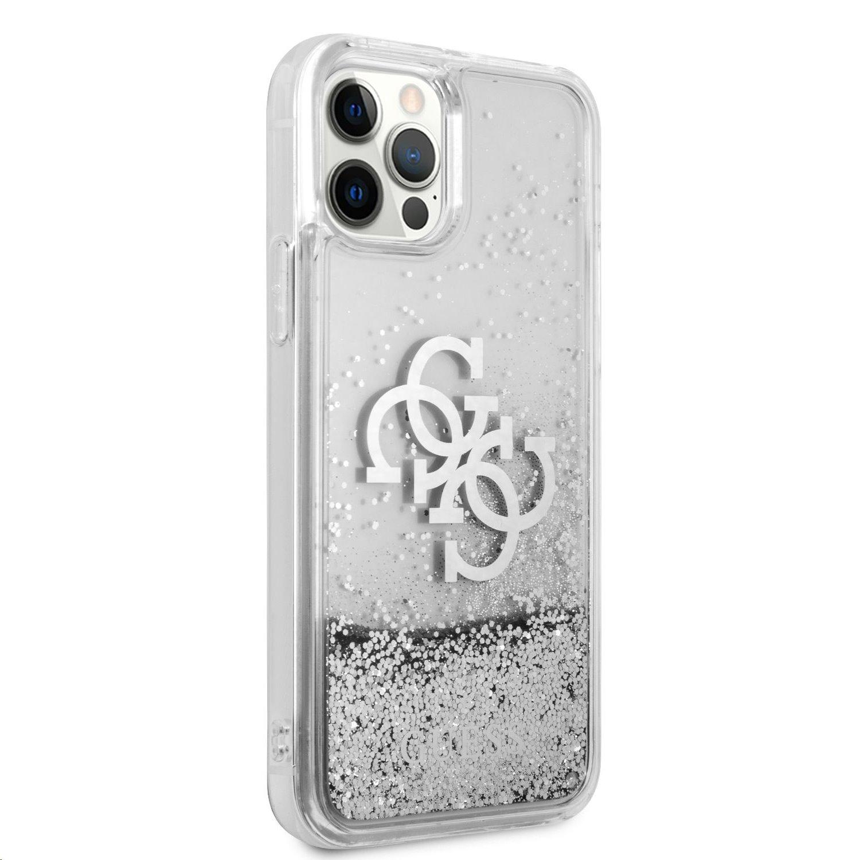 Zadní kryt Guess TPU Big 4G Liquid Glitter Silver GUHCP12MLG4GSI pro Apple iPhone 12/12 Pro, transparentní