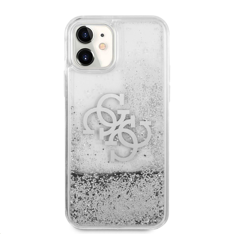 Zadní kryt Guess TPU Big 4G Liquid Glitter Silver GUHCN61LG4GSI pro Apple iPhone 11, transparentní