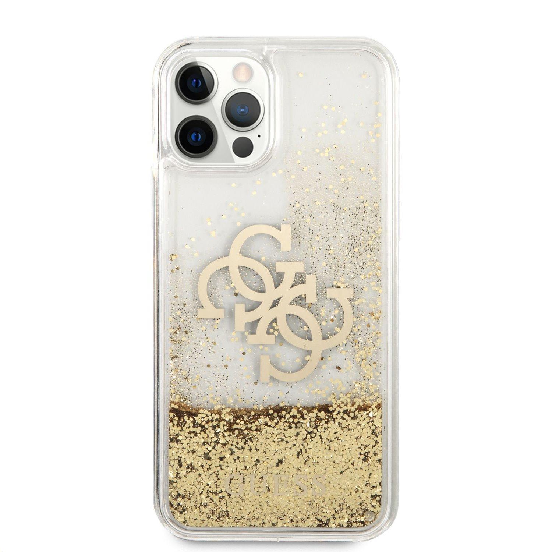 Zadní kryt Guess TPU Big 4G Liquid Glitter Gold GUHCP12LLG4GGO pro Apple iPhone 12 Pro Max, transparentní