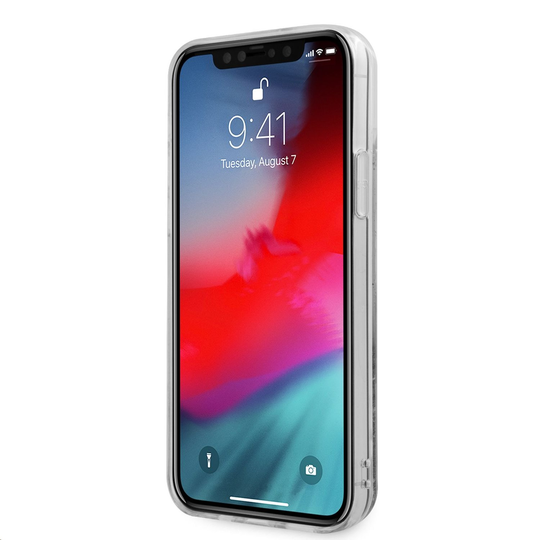 Zadní kryt Guess TPU Big 4G Liquid Glitter Gold GUHCP12MLG4GGO pro Apple iPhone 12/12 Pro, transparentní