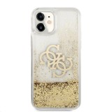 Zadní kryt Guess TPU Big 4G Liquid Glitter Gold GUHCN61LG4GGO pro Apple iPhone 11, transparentní