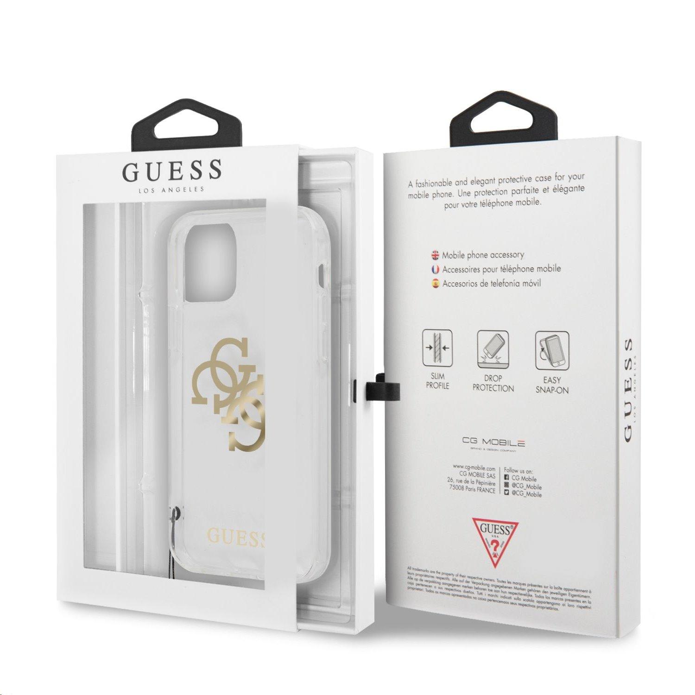 Zadní kryt Guess TPU Big 4G Logo Gold GUHCP12MKS4GGO pro Apple iPhone 12/12 Pro, transparentní
