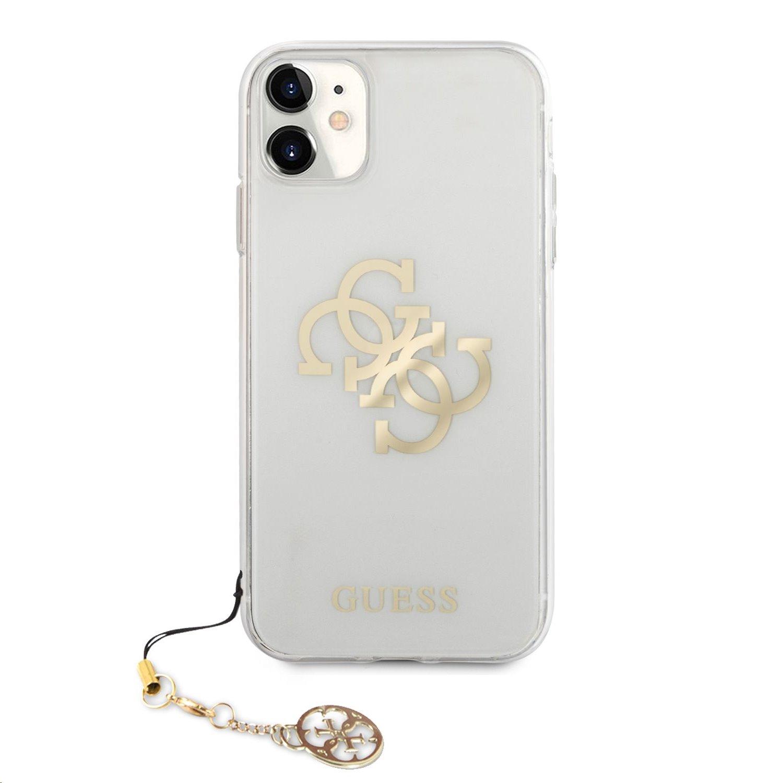 Zadní kryt Guess TPU Big 4G Logo Gold GUHCN61KS4GGO pro Apple iPhone 11, transparentní