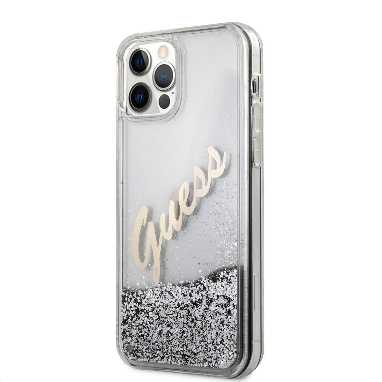 Zadní kryt Guess Liquid Glitter Vintage GUHCP12LGLVSSI pro Apple iPhone 12 Pro Max, stříbrná