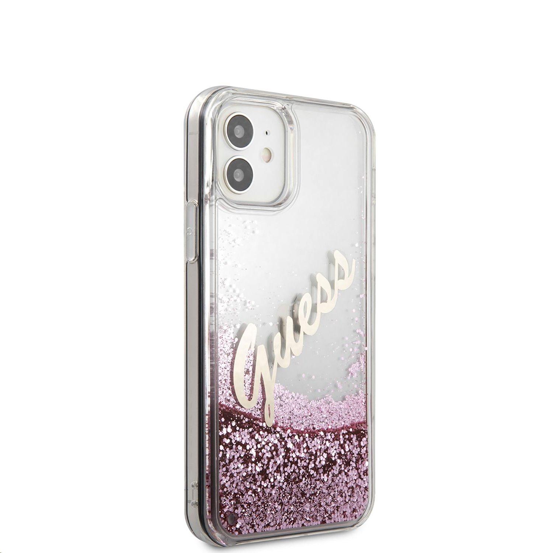 Zadní kryt Guess Liquid Glitter Vintage GUHCP12SGLVSPI pro Apple iPhone 12 mini, růžová