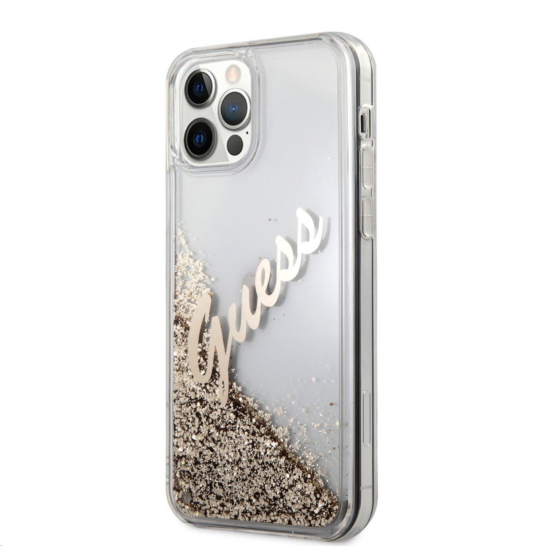 Zadní kryt Guess Liquid Glitter Vintage GUHCP12LGLVSGO pro Apple iPhone 12 Pro Max, zlatá