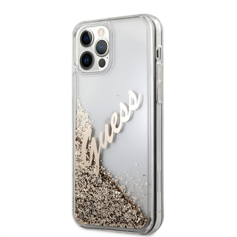 Zadní kryt Guess Liquid Glitter Vintage GUHCP12MGLVSGO pro Apple iPhone 12/12 Pro, zlatá
