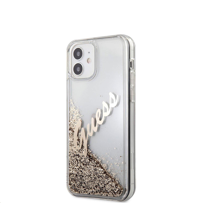 Zadní kryt Guess Liquid Glitter Vintage GUHCP12SGLVSGO pro Apple iPhone 12 mini, zlatá