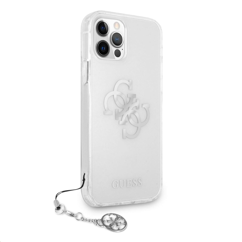 Zadní kryt Guess TPU Big 4G Logo Silver GUHCP12MKS4GSI pro Apple iPhone 12/12 Pro, transparentní