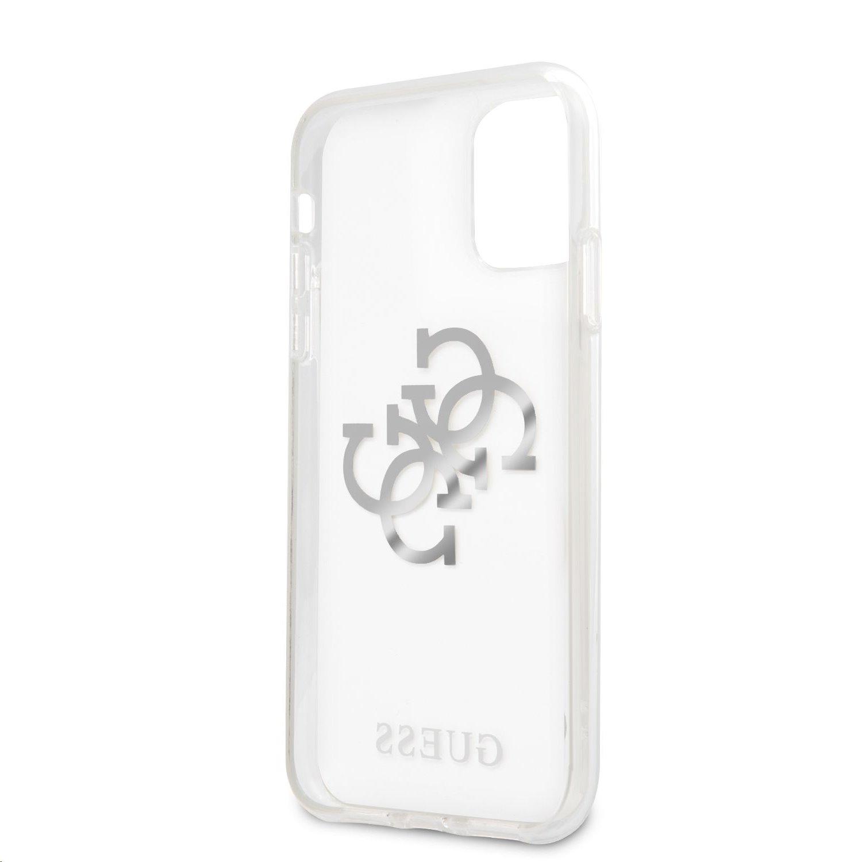 Zadní kryt Guess TPU Big 4G Logo Silver GUHCN61KS4GSI pro Apple iPhone 11, transparentní