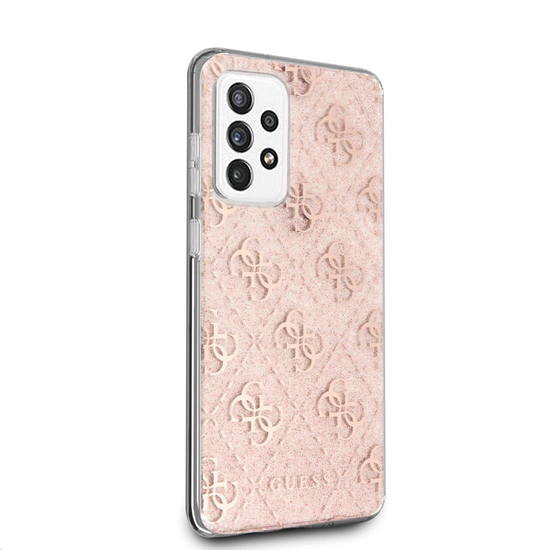 Zadní kryt Guess PC/TPU 4G Peony Glitter GUHCA72PCU4GLPI pro Samsung Galaxy A72, růžová