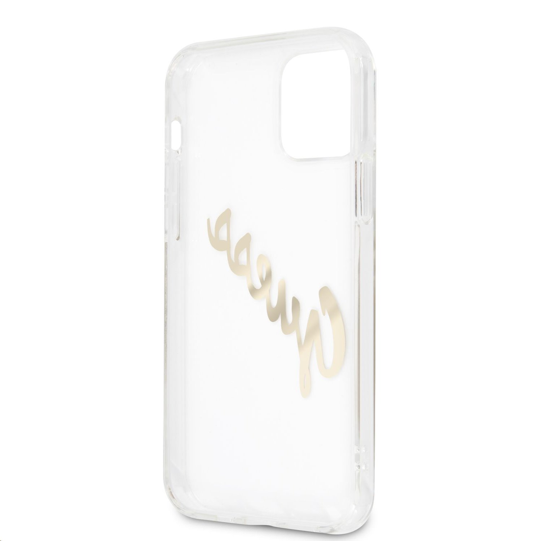 Zadní kryt Guess PU Vintage Script Gold Logo GUHCP12MKTRSVGO pro Apple iPhone 12/12 Pro, transparentní