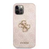 Zadní kryt Guess PU 4G Metal Logo GUHCP12L4GMGPI pro Apple iPhone 12 Pro Max, růžová