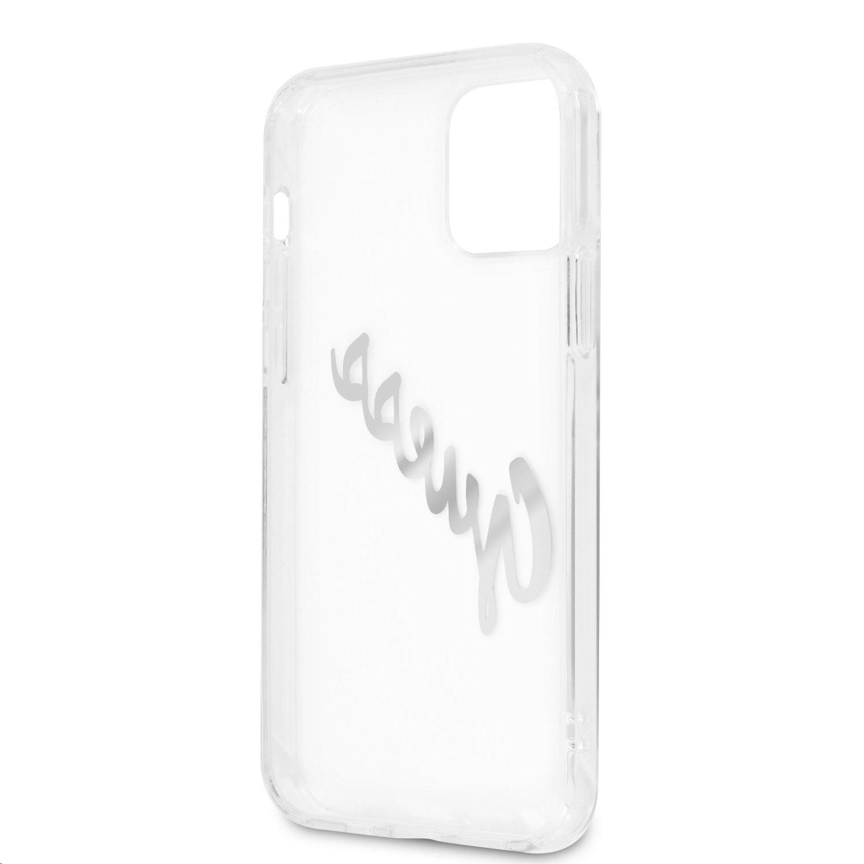 Zadní kryt Guess PU Vintage Script Silver Logo GUHCP12LKTRSVSI pro Apple iPhone 12 Pro Max, transparentní