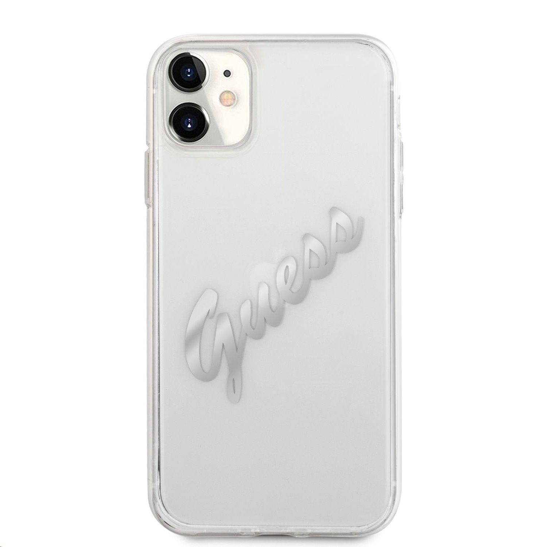 Zadní kryt Guess PU Vintage Script Silver Logo GUHCN61RSAVSRG pro Apple iPhone 11, transparentní