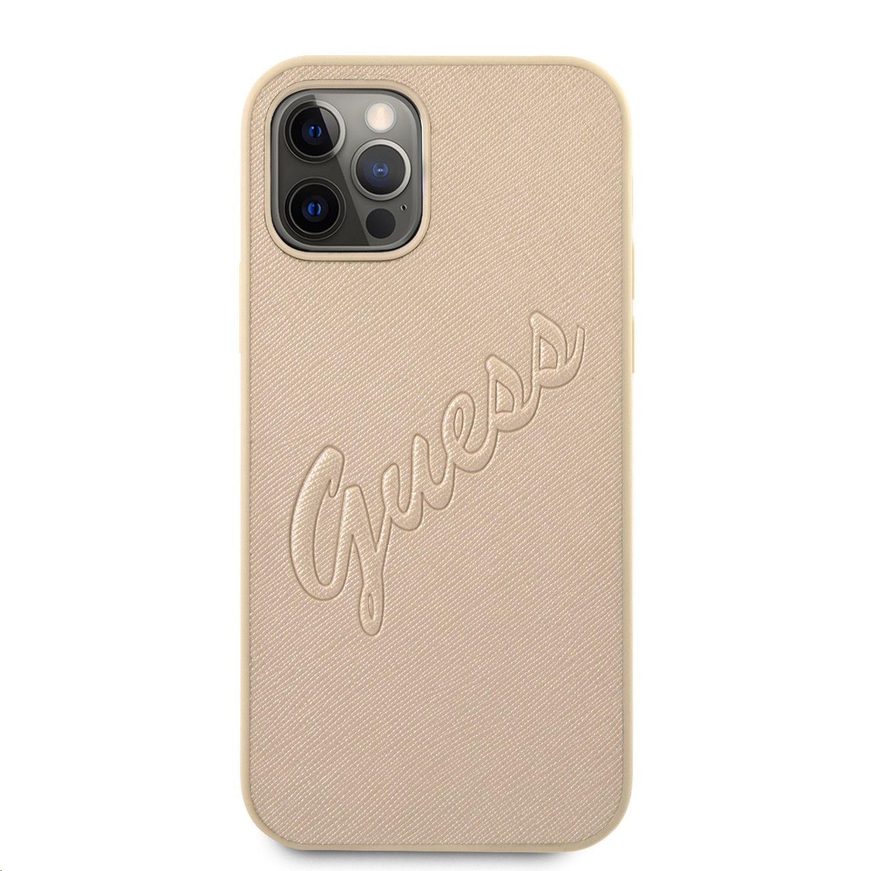 Zadní kryt Guess PU Saffiano Vintage Script GUHCP12LRSAVSLG pro Apple iPhone 12 Pro Max, zlatá