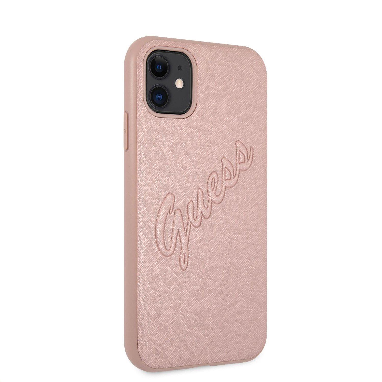 Zadní kryt Guess PU Saffiano Vintage Script GUHCN61RSAVSRG pro Apple iPhone 11, růžová/zlatá