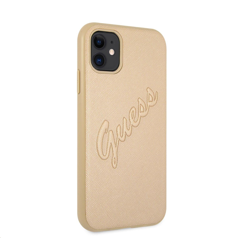 Zadní kryt Guess PU Saffiano Vintage Script GUHCN61RSAVSLG pro Apple iPhone 11, zlatá