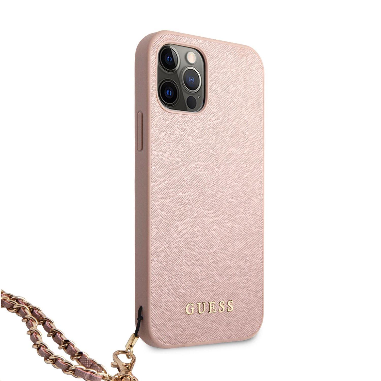 Zadní kryt Guess PU Saffiano Gold Chain GUHCP12LSASGPI pro Apple iPhone 12 Pro Max, růžová