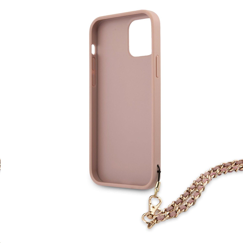 Zadní kryt Guess PU Saffiano Gold Chain GUHCP12MSASGPI pro Apple iPhone 12/12 Pro, růžová