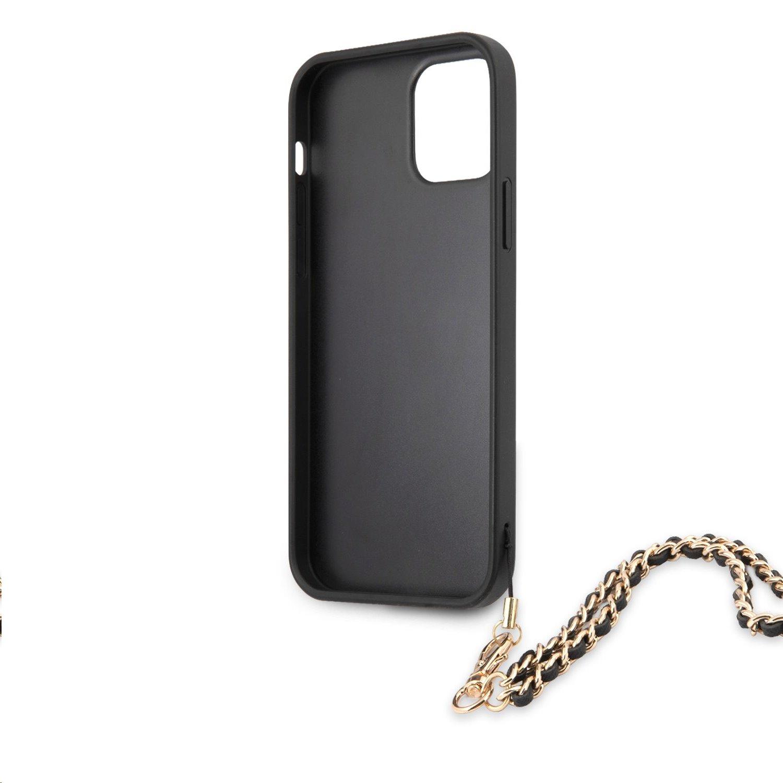 Zadní kryt Guess PU Saffiano Gold Chain GUHCP12MSASGBK pro Apple iPhone 12/12 Pro, černá