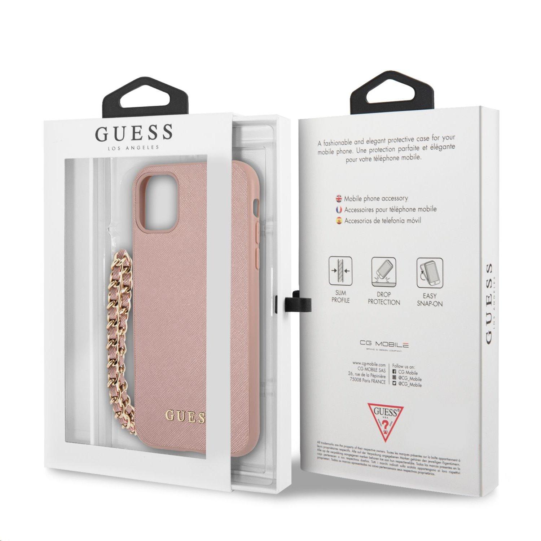 Zadní kryt Guess PU Saffiano Gold Chain GUHCN61SASGPI pro Apple iPhone 11, růžová