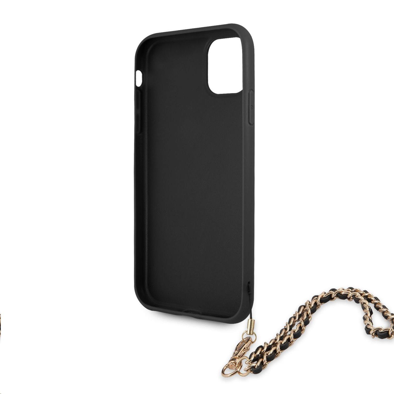 Zadní kryt Guess PU Saffiano Gold Chain GUHCN61SASGBK pro Apple iPhone 11, černá