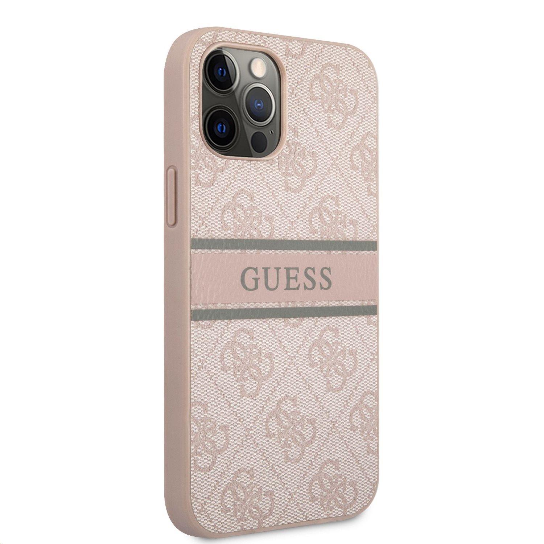 Zadní kryt Guess PU 4G Printed Stripe GUHCP12L4GDPI pro Apple iPhone 12 Pro Max, růžová