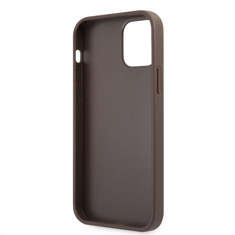 Zadní kryt Guess PU 4G Printed Stripe GUHCP12L4GDBR pro Apple iPhone 12 Pro Max, hnědá
