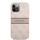 Zadní kryt Guess PU 4G Printed Stripe GUHCP12M4GDPI pro Apple iPhone 12/12 Pro, růžová