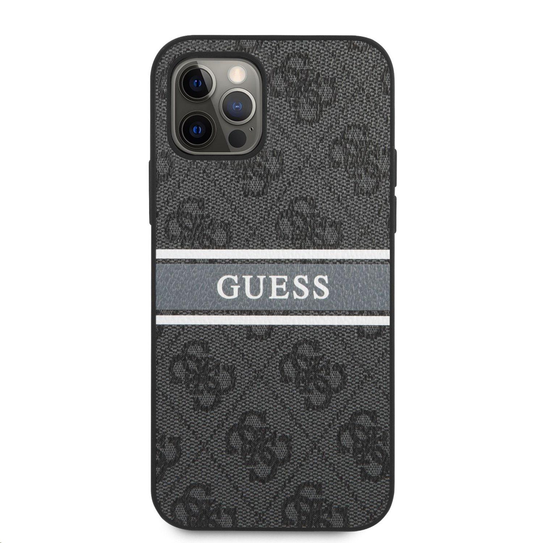 Zadní kryt Guess PU 4G Printed Stripe GUHCP12M4GDGR pro Apple iPhone 12/12 Pro, šedá