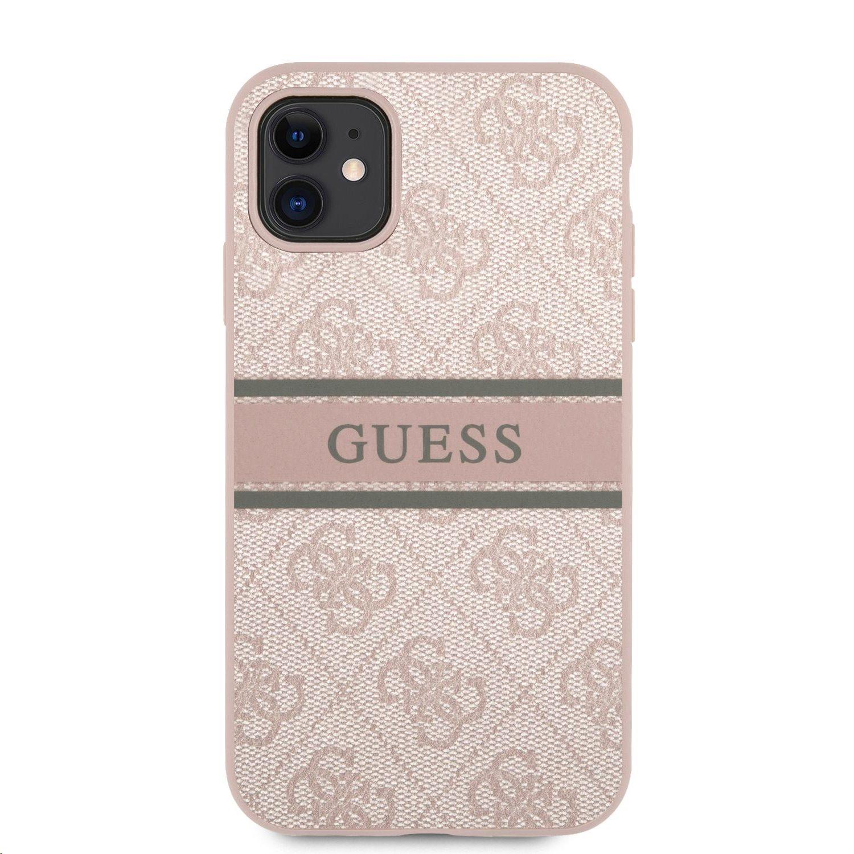 Zadní kryt Guess PU 4G Printed Stripe GUHCN614GDPI pro Apple iPhone 11, růžová
