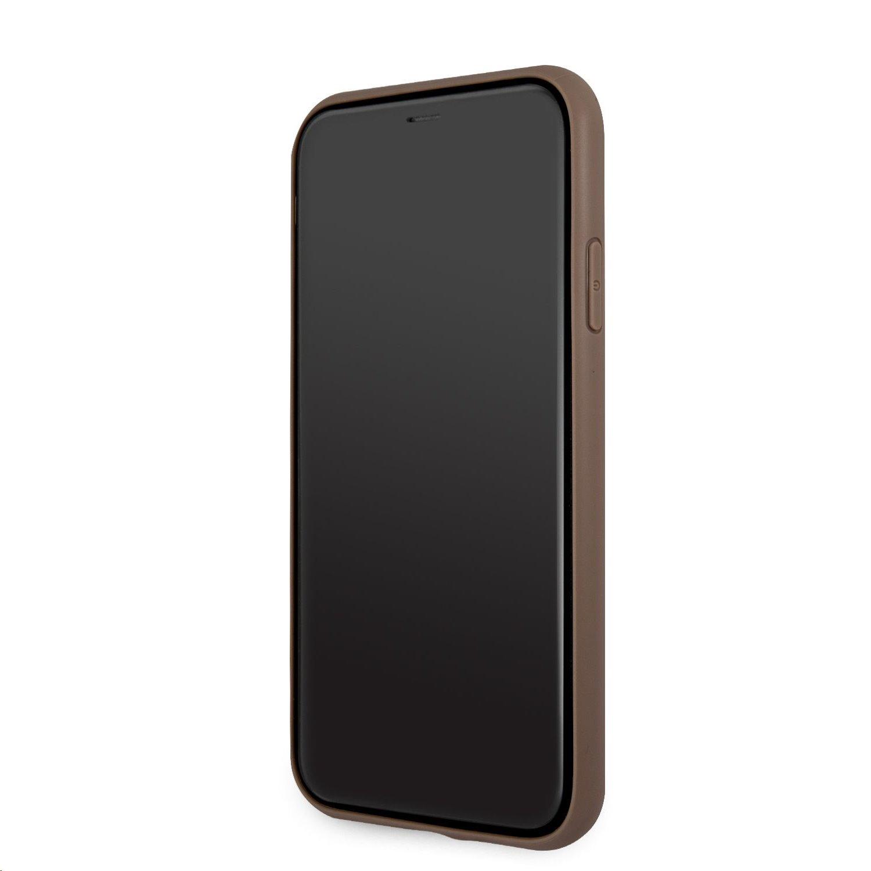 Zadní kryt Guess PU 4G Printed Stripe GUHCN614GDBR pro Apple iPhone 11, hnědá