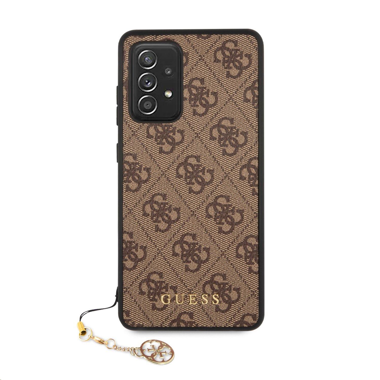 Zadní kryt Guess PU 4G Charm GUHCA72GF4GBR pro Samsung Galaxy A72, hnědá