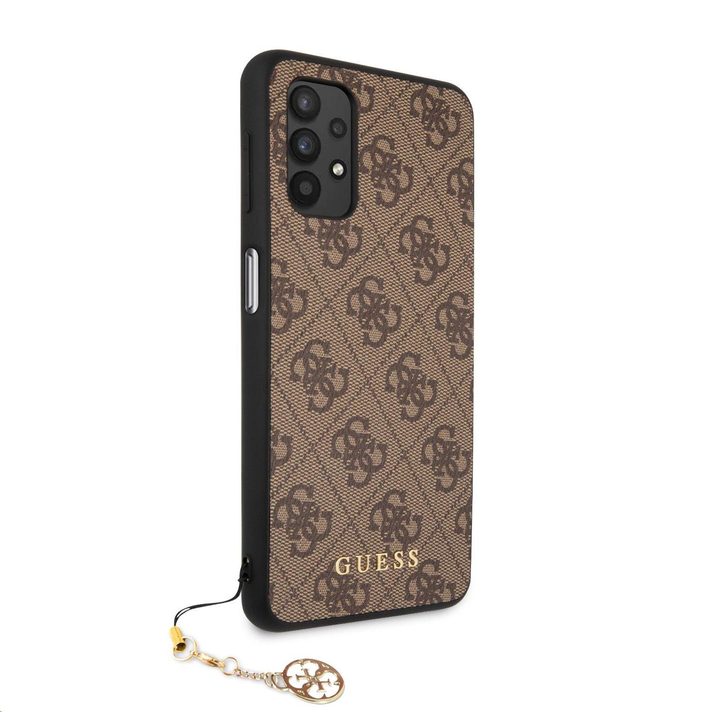 Zadní kryt Guess PU 4G Charm GUHCA325GF4GBR pro Samsung Galaxy A32 5G, hnědá