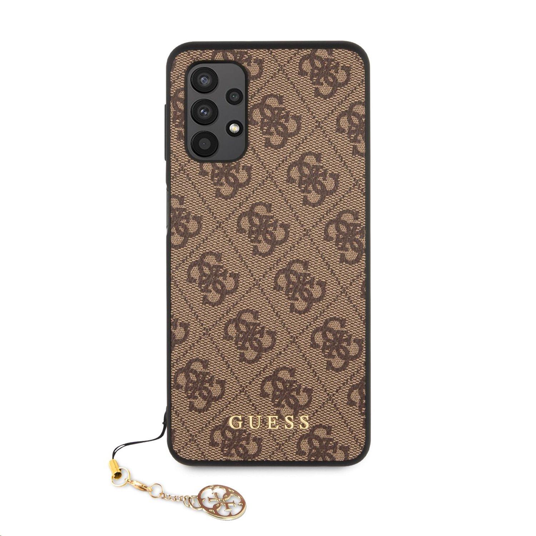 Zadní kryt Guess PU 4G Charm GUHCA32GF4GBR pro Samsung Galaxy A32 4G, hnědá