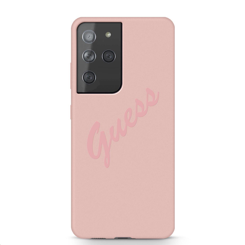 Guess Vintage silikonové pouzdro GUHCS21LLSVSPI pro Samsung Galaxy S21 Ultra, růžová