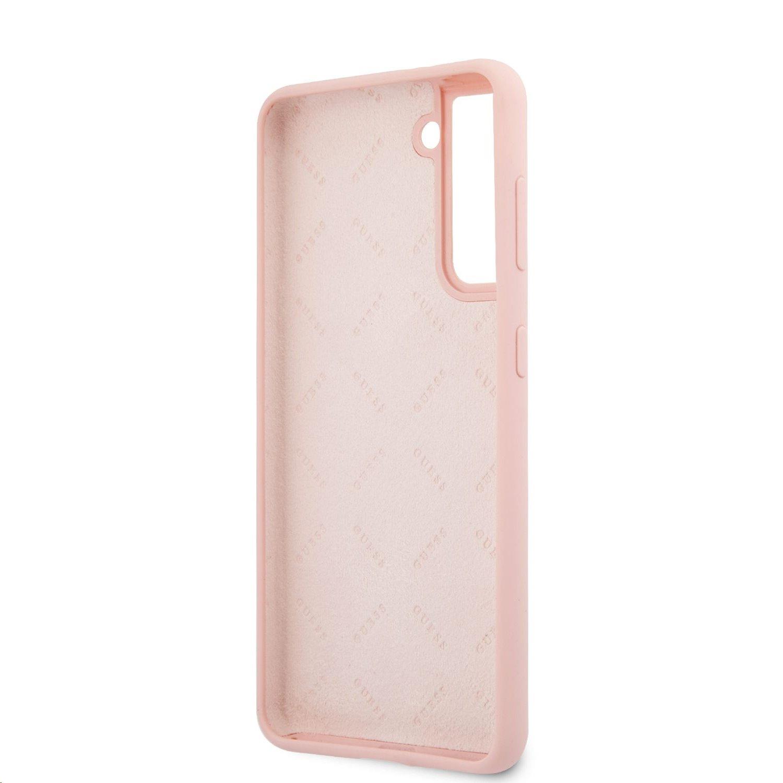 Guess Vintage silikonové pouzdro GUHCS21SLSVSPI pro Samsung Galaxy S21, růžová