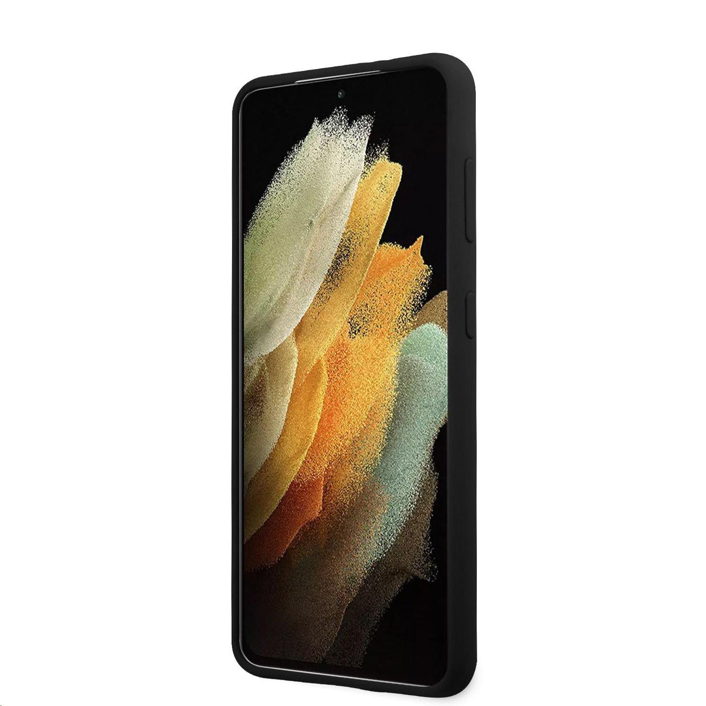Guess Vintage silikonové pouzdro GUHCS21SLSVSBK pro Samsung Galaxy S21, černá